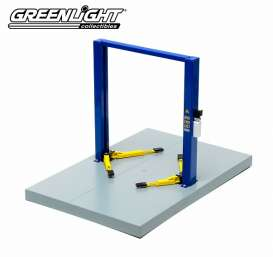 GreenLight - Lift Accessoires - gl12915 : metal 2 Post Service Lift with Base. blue with yellow platforms.