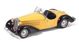 CMC - Audi  - cmc075A : 1935 Audi Front 225 Roadster, black/yellow (hand-assembled miniature of more than 1600 single parts).