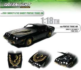 Greenlight - Pontiac  - gl12829 : 1980 Pontiac Firebird with Turbo hood *Smokey & the Bandit II, (look at the pictures)  black/gold