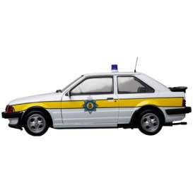 Model Icons - Ford  - MI999004 : 1985 Ford Escort XR3i *Cambridge Constabulary* registration plate C389 LEG, white/yellow (made by Sunstar).
