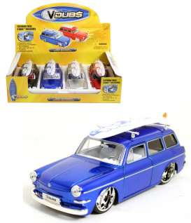 Jada Toys - Volkswagen  - jada91428QJbox4 : 1965 Volkswagen Squareback with surfboard and Prostock rims in a tray with 4pcs. 1x silver, 1x red, 1x blue and 1x black.