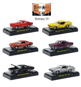 M2 Machines - Assortment/ Mix  - M2-32600-19mix6 : *Detroit Muscle Cars Premium Edition release 19* Mix box with 6 pieces inside; 1966 Ford Mustang Fastback GT, 1969 Chevrolet Camaro SS 396 L89, 1968 Firebird 400 H.O., 1967 Chevrolet Nova SS, 1970 Dodge Super Bee HEMI, 1969 Pontiac GTO Judge