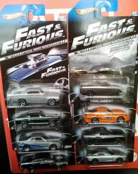 Hotwheels - Assortment/ Mix  - hwmvY2126-996Amix12 : 1/64 Fast & the Furious assortment of 12. 2x 1970 Dodge Charger, 2x Chevelle SS, 1x Nissan GT-R 2009, 2x 2008 Dodge Challenger SRT-8, 1x Nissan Skyline silver/blue, 1x 2011 Dodge Charger R/T, 1x 1994 Toyota Supra orange, 2x 1967 Ford Mustang green