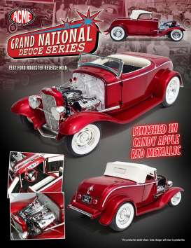 Acme Diecast - Ford  - Acme1805010 : 1932 Ford Roadster *Grand National Deuce Series #5* with an All chrome and Blown Ardun Flathead and Chrome Steelies , candy apple red