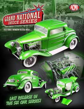 Acme Diecast - Ford  - Acme1805011 : 1932 Ford 3 window *Grand National Deuce Series #6*, synergy green