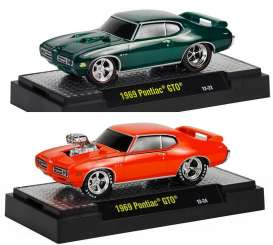 M2 Machines - Pontiac Assortment/ Mix - M2-81161-11F~6 : Ground Pounders *series 11F* 3 each of the following cars; 1969 Pontiac GTO green & orange