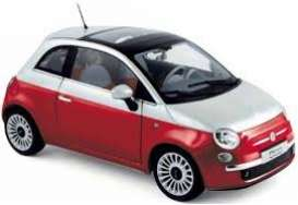 Norev - Fiat  - nor187742 : 2011 Fiat 500, red/white