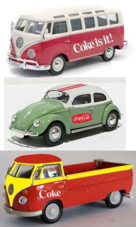 Motor City Classics - Volkswagen  - mocity458385 : Volkswagen *Coca Cola* set of 3. 1x VW Beetle, 1x VW Bus pick-up, 1x VW Samba bus