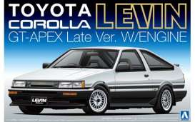 Aoshima - Toyota  - abk109420 : 1/24 Toyota Corolla AE86 Levin GT-Apex Late version with engine, plastic modelkit