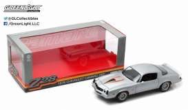 GreenLight - Chevrolet  - gl12900 : 1978 Chevrolet Camaro Z/28, silver metallic with orange stripes and black interior