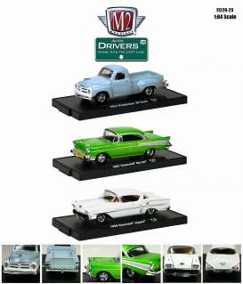M2 Machines - Assortment/ Mix  - M2-11228-23~6 : *M2-Drivers release 23* 2 each of the following cars; 1958 Impala white, 1954 Studebaker 3R truck grey, 1957 Bel Air Green.