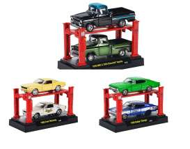 M2 Machines - Assortment/ Mix  - m2-33000-8~6 : *Auto Lift 2pack with 2 cars and 1 lift release 8* 2 each of the 1959 GMC/Chevy, 1965 Ford Mustang, 1966 Dodge Charger