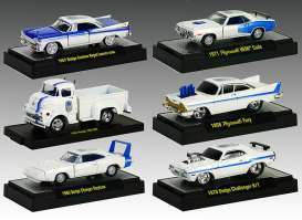 M2 Machines - Assortment/ Mix  - M2-32500MP02~6 : *Auto Dreams Mopar 75th Anniversary  release MP02* Mix box with 6 pieces inside; 1969 Dodge Charger Daytona, 1957 Dodge 700 COE, 1971 Plymouth Hemi Cuda, 1957 Dodge Custom Royal Lancer D500, 1970 Dodge Challenger R/T, 1958 Plymouth Fury
