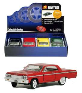Sunnyside - Chevrolet  - SS8701D : 1/24 1964 Chevrolet Impala hardtop in a tray of 4. 1 each of the following colours; red, black, yellow, green