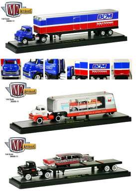 M2 Machines - Assortment/ Mix  - m2-36000-11A~6 : *Auto Haulers series 11A*. 2 each of the 1956 Ford Coe + 1957 Mercury, 1958 Chevrolet LCF + 1958 Impala, 1957 Dodge COE + B&M Trailer.