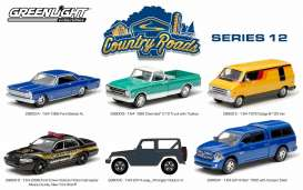 GreenLight - Assortment/ Mix  - gl29800~12 : Country Roads series 12, assortment of 12. 2 each of the following cars; 1966 Ford Galaxie XL, 1968 Chevrolet C10 pick-up with Toolbox, 1976 Dodge B100 van, 2008 Ford Crown Victoria Police Interceptor Albany County, New York Sheriff, 2014 Jeep Wrangler Rubicon X, 2014 Dodge Ram 1500 with Camper.
