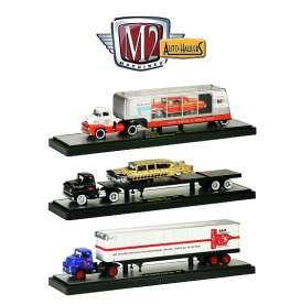 M2 Machines - Assortment/ Mix  - M2-36000-11B~3 : *Auto Haulers series 11B*. 1 each of the 1956 Ford Coe + 1957 Mercury Turnpike cruiser, 1958 Chevrolet LCF + 1958 Impala, 1957 Dodge COE + B&M Trailer.