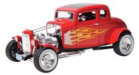 Motor Max - Ford  - mmax73172rTDC : 1932 Ford Hot Rod 5-window coupe *Platinum Series*, red with yellow flames