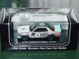 Kyosho - Nissan  - kyo6022H^1 : 1973 Nissan Skyline GT-R (KPGC10) #16, silver/white