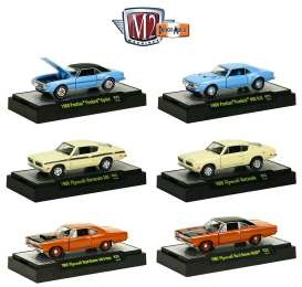 M2 Machines - Assortment/ Mix  - M2-32600-25~6 : *Detroit Muscle Cars release 25*. Set includes 1 each of the following models; 1968 Pontiac Firebird, 1968 Pontiac Firebird 400HO, 1969 Plymouth Barracuda 340, 1969 Plymouth Road Runner 440, 1969 Plymouth Road Runner Hemi