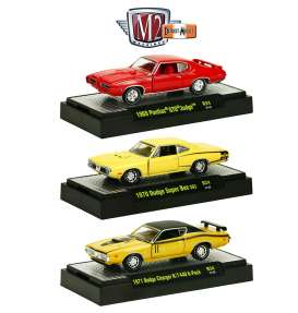 M2 Machines - Assortment/ Mix  - M2-32600-24~6 : *Detroit Muscle Cars release 24*; 2 each of 1969 Pontiac GTO Judge, 1970 Dodge Super Bee 383, 1971 Dodge Charger R/T 440 6-Pack
