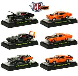M2 Machines - Assortment/ Mix  - M2-31600HM01~6 : 50 Years 426 HEMI release HM01; 1966 Dodge Charger HEMI, 1969 Dodge Charger Daytona HEMI, 1971 Plymouth HEMI CUDA, 1968 Plymouth Barracuda HEMI, 1969 Plymouth Road Runner HEMI, 1971 Dodge Charger R/T HEMI
