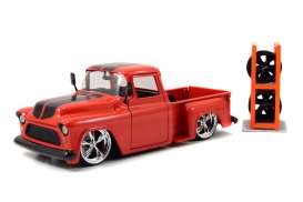 Jada Toys - Chevrolet  - jada54027W6-3 : 1955 Chevrolet Stepside *Just Trucks* , red