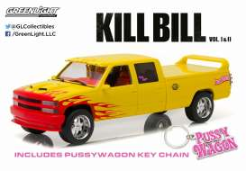 GreenLight - Chevrolet  - gl19015 : 1997 Chevrolet C-2500 Crew Cab Silverado *Kill Bill Pussy Wagon* Artisan Collection, yellow/pink.