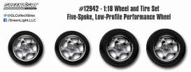 GreenLight - Rims & tires Wheels & tires - gl12942 : 1/18 Five Spoke Low Profile Performance wheel and tyre set (set of 4 wheels and tires).