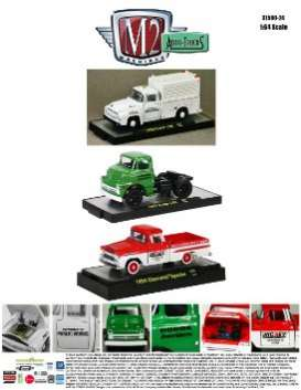 M2 Machines - Assortment/ Mix  - M2-32500-24~6 : *M2-Auto-Trucks release 24* mix box with 6 pcs, 2 of each. 1956 Ford F100 - white, 1957 Dodge COE - green, 1959 Chevrolet Apache *Nickey* -red/white.