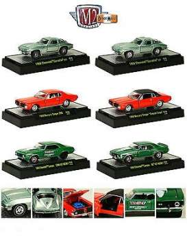M2 Machines - Assortment/ Mix  - M2-32600-26~6 : *Detroit Muscle Cars release 26*; 1966 Chevrolet Corvette 327 - green, 1966 Chevrolet Corvette 427 - green, 1968 Mercury Cougar 390 - red, 1968 Mercury Cougar Calypso Coupe - red, 1969 Chevrolet Camaro COPO 427 NICKEY - green, 1969 Chevrolet Camaro SS 427 NICKEY - green.