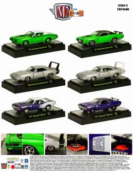 M2 Machines - Assortment/ Mix  - M2-32600-27~6 : *Detroit Muscle Cars release 27*; 1971 Dodge Charger Super Bee 440 - green, 1971 Dodge Charger Super Bee 383 - green, 1969 Dodge Charger Daytona 440 - silver, 1969 Dodge Charger Daytona Hemi - silver, 1971 Plymouth Cuda 383 - purple, 1971 Plymouth Cuda 440-6 - purple.