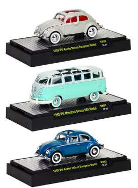 M2 Machines - Volkswagen  - M2-32500VW02~6 : Volkswagen series 2. 2 of each, 1957 VW Beetle deluxe European Model - grey, 1962 VW Microbus Deluxe USA Model - blue, 1967 VW Beetle Deluxe European Model - blue.