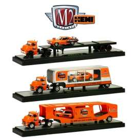 M2 Machines - Assortment/ Mix  - M2-36000-14~3 : *Auto Haulers series 14 50 Years 426 Hemi Anniversary*. 1 of each: 1957 Dodge COE and 1971 Plymouth HEMI Cuda, 1957 Dodge COE and 1969 Plymouth Road Runner HEMI, 1957 Dodge COE and 1969 Dodge Charger Daytona HEMI