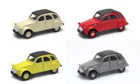 Welly - Citroen  - Welly43625HD~12 : Citroen 2CV closed softtop Diecast Pull Back model. Display Tray with 12pcs in 2 colours (red & beige).