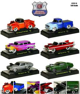 M2 Machines - Assortment/ Mix  - M2-82161-14H~6 : Ground Pounders *series 14H* 1 each of the following models; 1954 Chevy 3100 pick-up, 1956 Ford F100 pick-up, 1957 Nomad, 1958 Plymouth Fury, 1967 Shelby GT500, 1969 Boss Mustang 429
