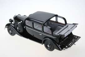 Triple9 Resin series - Mercedes  - T9R1800103 : 1936 Mercedes 260D Pullman Landaulet with open rear roof *resin series*, black with brown interior
