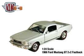 M2 Machines - Ford  - M2-40300-49D : 1966 Ford Mustang GT 2+2 Fastback, silver with black stripes.