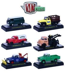 M2 Machines - Assortment/ Mix  - M2-32500-36~6 : *Auto-Trucks release 36* mix box with 6 pcs with the following items, 1965 Ford Econoline Delivery Van, 1952 Studebaker 2R Truck, 1958 Chevrolet Apache Tow Truck, 1956 Ford F-100 Stakebed Truck, 1957 Dodge COE Tow Truck, 1958 GMC Suburban Carrier 4x4.