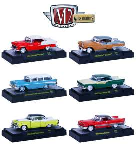 M2 Machines - Assortment/ Mix  - M2-32500-35~6 : *AUTO-THENTICS RELEASE 35* mix box with 6 pcs,1955 Dodge Royal Lancer, 1955 Pontiac Star Chief,1957 Chevrolet 210 Beauville Station Wagon, 1957 DeSoto Fireflite,1957 Ford Fairlane 500, 1955 Chevrolet Bel Air ,