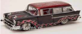 Chevrolet  - 1957 black w/fl. red top - 1:24 - Muscle Machines - mus75111AB-c | The Diecast Company