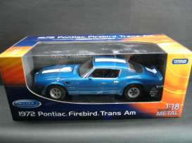 Pontiac  - 1972 blue w/white stripes - 1:18 - Welly - welly12566b | The Diecast Company