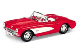 Chevrolet  - Corvette 1957 red/white - 1:24 - Welly - welly29393r | The Diecast Company