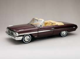 Ford  - Galaxie 500XL Open convertible 1964 vintage burgundy - 1:18 - SunStar - 1432 - sun1432 | The Diecast Company
