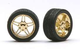 Wheels & tires  - gold - 1:24 - Pegasus - hs1224 - pghs1224 | The Diecast Company