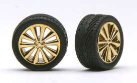 Rims & tires  - gold - 1:24 - Pegasus - hs1252 - pghs1252 | The Diecast Company