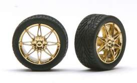Wheels & tires  - gold - 1:24 - Pegasus - hs1256 - pghs1256 | The Diecast Company