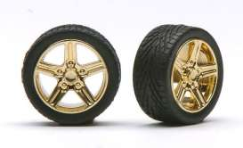 Wheels & tires  - gold - 1:24 - Pegasus - hs1264 - pghs1264 | The Diecast Company