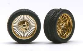Rims & tires  - gold - 1:24 - Pegasus - hs1298 - pghs1298 | The Diecast Company