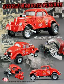 Willys  - 1933 red - 1:18 - Acme Diecast - acme1800901 | The Diecast Company